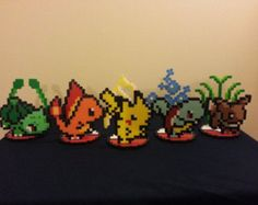 Small Perler Pokemon Bead Sprite/ Ornaments - (1) Pokemon with stand perler,hama,square pegboard,video games,nintendo,pokemon,