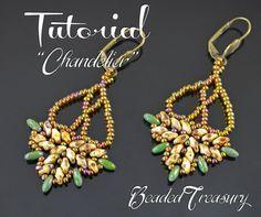 Chandelier - beadwoven earrings tutorial / Beading tutorial / Earring pattern / Bead pattern / Superduo / Rizo / TUTORIAL ONLY