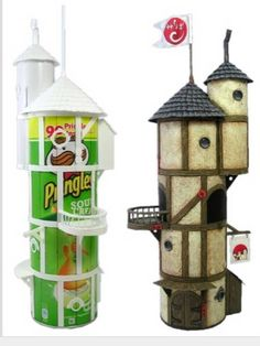 Recycle Reuse Renew Mother Earth Projects: How to make Fairy Houses from Recycled Materials. Some great ideas here! Was hoping for instructions for painting the pringles boxes.my fairy house looks too clean. Pringles Can, Fairy Doors, Fairy Houses, Garden Houses, Diy Fairy House, Faeries, Craft Projects, Craft Ideas, Project Ideas