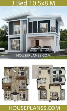 House Design Plans Idea with 3 bedroomsThe House has:Building size (m X m) : x size (Sq.m) : size (Square wah) : 44 Two Story House Design, 2 Storey House Design, Bungalow House Design, House Front Design, Small House Design, Modern House Design, House Layout Plans, Small House Plans, House Layouts