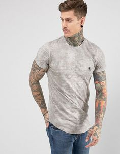 Religion T-Shirt With Texture And Logo - Gray