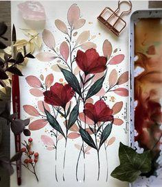 Watercolor Flowers, Watercolor Paintings, Dibujos Zentangle Art, Creation Art, Botanical Art, Aesthetic Art, Watercolor Illustration, Diy Art, Painting & Drawing