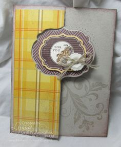 handmade Thanksgiving card ... flip element in fancy label shape ... Thinlets Card Die does the cutting and scoring ... fun card with moving element ... kraft with stamping and plaid paper ... Stampin' Up!