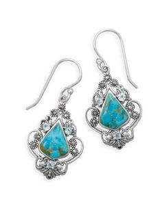 Turquoise Blue Topaz and Marcasite Earrings