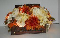 Silk Flower Arrangement in Decorative Trunk by FlowersandFrills, Etsy.com, $36.50
