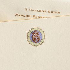 Ecru Empire Card with Copper Bevel and Copper, Artemis and Iris Monogram. Monogram Stationary, Monogrammed Stationery, Custom Stationery, Custom Wedding Invitations, Stationery Design, Wedding Stationery, Oyster Bay New York, Business Card Design, Creative Business