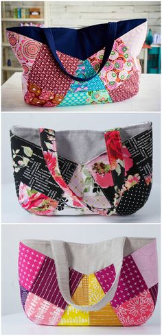 How to sew colorful patchwork bags and baskets. 3 different projects, each in 3 different sizes. Video tutorial.