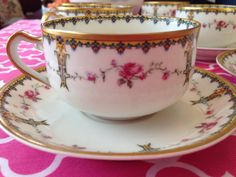 set of 6 Haviland Limoges China Cup and Flat by KarenKringles, $90.00
