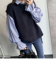 - Sweater Fashion - TOPS Fashion Long Sleeve Striped Shirt And Sweater Vest Two Pieces Suit. Korean Outfits, Mode Outfits, Fall Outfits, Fashion Outfits, Womens Fashion, Vest Outfits For Women, Fashion Ideas, Korean Girl Fashion, Look Fashion