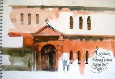 some recent sketches done in pune, my home town . .its a church built in bricks . i chose the red orange to show the imp...