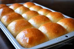 Homemade King's Hawaiian Bread ~ makes 3 loaves or 24 large rolls 6-7 cups all-purpose flour 3 eggs 1 1/2 cups pineapple juice 3/4 cup sugar 2 teaspoons salt 1/2 teaspoon ground ginger 1 teaspoon vanilla 2 (1/4 ounce) envelopes yeast 1/2 cup butter (one stick) melted