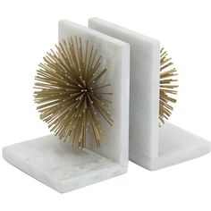 Modern Gold Burst White Marble Bookends ($127) ❤ liked on Polyvore featuring home, home decor, small item storage, mod home decor, gold home decor, gold bookends, modern home accessories and modern bookends