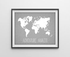 Travel Quote World Map Print Travel Nursery Art by BySamantha