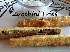Zucchini Fries Recipe Fried Zuchinni, Zucchini Fries, Fries Recipe, Kitchen Hacks, Hot Dog Buns, Side Dishes, Food And Drink, Veggies, Yummy Food