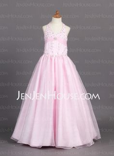 Flower Girl Dresses - $113.59 - A-Line/Princess Halter Floor-Length Organza Satin Flower Girl Dress With Ruffle Beading (010007761) http://jenjenhouse.com/A-Line-Princess-Halter-Floor-Length-Organza-Satin-Flower-Girl-Dress-With-Ruffle-Beading-010007761-g7761