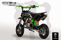 [ YCF START F88S Limited ] ➤ 1 149.00 €  - Cadre vert fluo - Kit déco Monster - Kit plastique noir - Poignées vertes - Mousse de guidon verte - Tendeur de chaîne vert - Chaîne verte - Durite d'essence verte