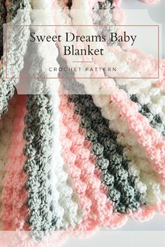 Crochet the sweet dreams baby blanket for your little one, with this free pattern by Lullaby Lodge. Make this super soft and snugly crochet baby blanket. Free crochet pattern suitable for beginners, photo tutorial. Crochet Baby Blanket Free Pattern, Baby Afghan Crochet, Free Crochet, Crochet Top, Crochet Patterns, Crochet Ideas, Crochet Fringe, Unique Crochet, Chunky Crochet