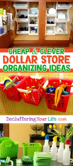 Awesome Dollar Store & Dollar Tree Organization Hacks for Organizing Your Home on a Budget in 2019 Dollar Store Organization Ideas and Budget Organizing Hacks Dollar Store Organization, Do It Yourself Organization, Dollar Store Hacks, Dollar Store Crafts, Dollar Stores, Thrift Stores, Organization Ideas For The Home, Organisation Hacks, Organizing Hacks