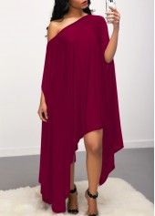 Check Out This Batwing Sleeve Skew Neck Purple Red Dress Women's Fashion Dresses, Sexy Dresses, Evening Dresses, Casual Dresses, Black Dress With Sleeves, Dresses With Sleeves, Motifs Perler, Marine Uniform, Club Party Dresses