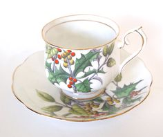 Royal Albert Fine Bone China Hand Painted Holly Hampton Shape Teacup Cup and Saucer Christmas - England Mid Century by HouseofLucien