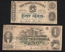 1863 50c and $1 STATE of ALABAMA. Southern paper money.