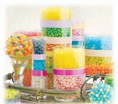 A condensed candy bar/buffet used as a centerpiece.