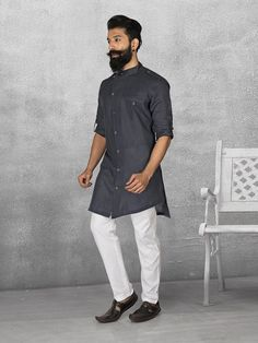 Shop Black color simple linen kurta suit online from G3fashion India. Brand - G3, Product code - G3-MKS0528, Price - 3995, Color - Black, Fabric - Linen,