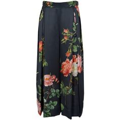 Vivienne Westwood Red Carpet Floral Slik Satin Palazzo Trousers (€570) ❤ liked on Polyvore featuring pants, bottoms, skirts, trousers, floral pants, palazzo pants, patterned pants, flower print pants and patterned palazzo pants