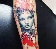 Girl Face tattoo by Renata Jardim Tattoo