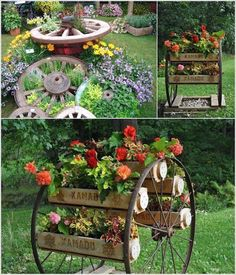 Wagon Wheel Front Yard Decor - There are tons of things seemingly trivial with a touch imagination, you& transform int… in 2020 Garden Yard Ideas, Diy Garden Decor, Lawn And Garden, Garden Projects, Porch Garden, Garden Bed, Backyard Ideas, Diy Projects, Yard Art