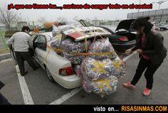 ¡A que no tienes hu..., narices de cargar todo eso en el coche!