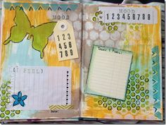 Art journal spread - love how she outlined the various elements in pen