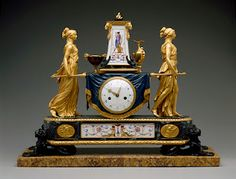 Clock of the Vestals Carrying the Sacred Fire 1789 by Pierre-Philippe Thomire gilded, patinated, and painted bronze, Sevrès porcelain, enamel on copper, and marble belonging to French Queen Marie Antoinette
