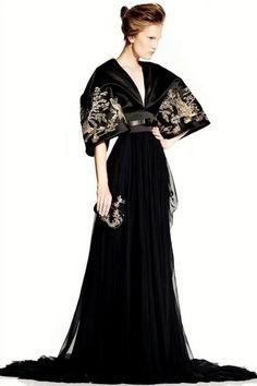 Alexander McQueen Silk Kimono Gown Embroidered Beaded Black Dress
