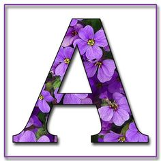 """Free Scrapbook Alphabet Letters """"Purple Flowers"""" in JPG & PNG For this project I used my own alphabet """"A,"""" a Photoshope font, and a backg."""