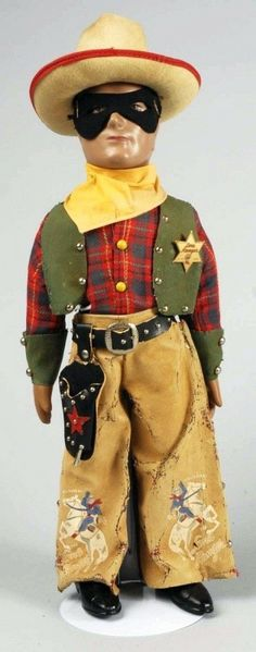 """20"""" composition Lone Ranger character doll, based on the radio character and released at the time of the earliest Lone Ranger film serials, United States, 1938, by Dollcraft Novelty Co."""