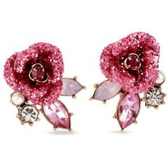 Betsey Johnson Pink Glitter Rose Mismatch Stud Earring