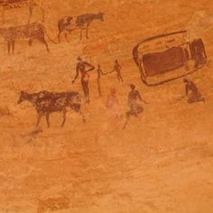 Cave paintings - Tassili n'Ajjer, Algeria (UNESCO World Heritage Site) © Mohammed Beddiaf Prehistoric Period, Paleolithic Art, Ancient Alphabets, Mandala, Ancient Civilizations, Science And Nature, Ancient Art, World Heritage Sites, Rock Art