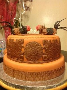 Fighting Roosters - by MoyBellaCakesByGaby @ CakesDecor.com - cake decorating website