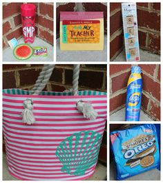 End-Of-The-Year Teacher Gifts.  Beach Bag Gift Ideas.  Summer Bag Gift Ideas.  Apples For Teachers.