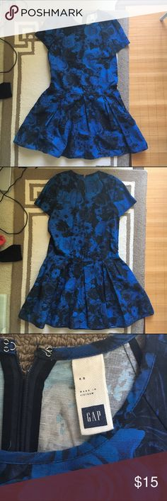GAP Floral Denim Dress Royal blue dress with floral print, a full pleated skirt at dropped waist. GAP Dresses