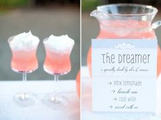 Meet The Dreamer. A simple cocktail made with pink lemonade, Bacardi rum, and a dollop of cool whip.This drink can be prepared in a large batch before a party and served in a pretty decanter or beverage server.  If you want to get super fancy….replace the Cool Whip with cotton candy and you got yourself a party in a glass.  Enjoy!  Happy planning! xoxo