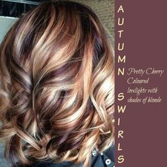 Pretty cherry coloured lowlights with shades of blonde
