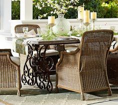 could make w/ salvaged wrought iron gates            Rosalie Concrete-Top Rectangular Fixed Dining Table #potterybarn