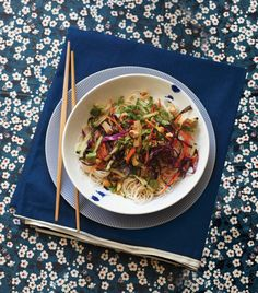 Rice Noodle Salad with Smoked Tofu & Herbs -- This dish has all the flavors of fresh (not fried) spring rolls, but requires much less work. Adding smoked tofu turns it into a full meal.