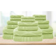 The Casablanca Collection Jacquard/Solid Towel Set: Diamond/Sage ($70) ❤ liked on Polyvore featuring home, bed & bath, bath, bath towels, green, green bath towels, green hand towels and jacquard bath towels