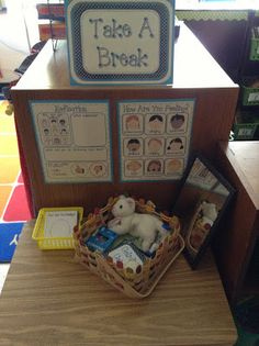 I love this- Take a Break Space. Think and about how you are feeling, squeeze a stress ball, and hug a stuffed animal. Come back to class when the egg timer is up!