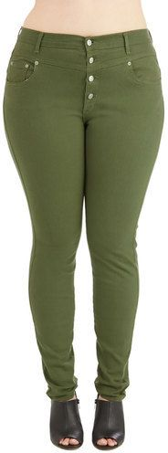 Plus Size Olive Green Jeans