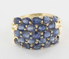 Vintage 10 Karat Yellow Gold Sapphire Dome Cocktail Ring Fine Estate from preciousandrarepieces on Ruby Lane