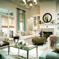 Southern Living seafoam green modern french living room design with soft yellow cream ..